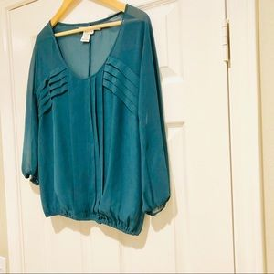 Max Studio Long Sleeve Sheer Teal Blouse